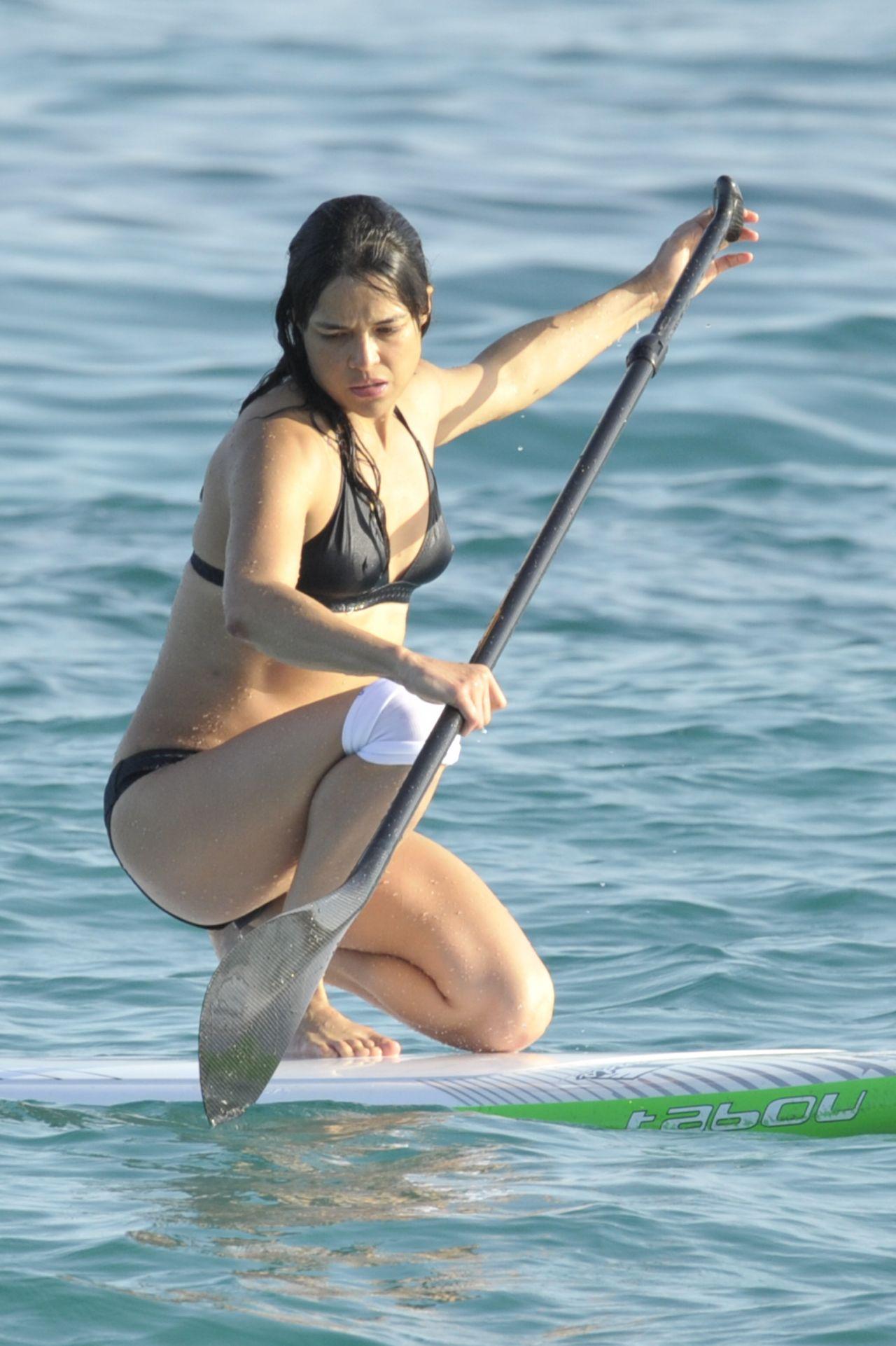 Michelle Rodriguez Paddle Boating In Bikini Sardinia