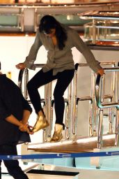 Michelle Rodriguez Partying on a Boat in Ibiza, August 2015