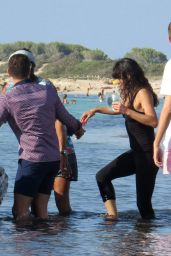Michelle Rodriguez Walk Along the Beach With Friends in Formentera, August 2015