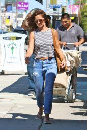 Minka Kelly in Ripped Jeans - Shopping for Rugs in Beverly Hills, August 2015