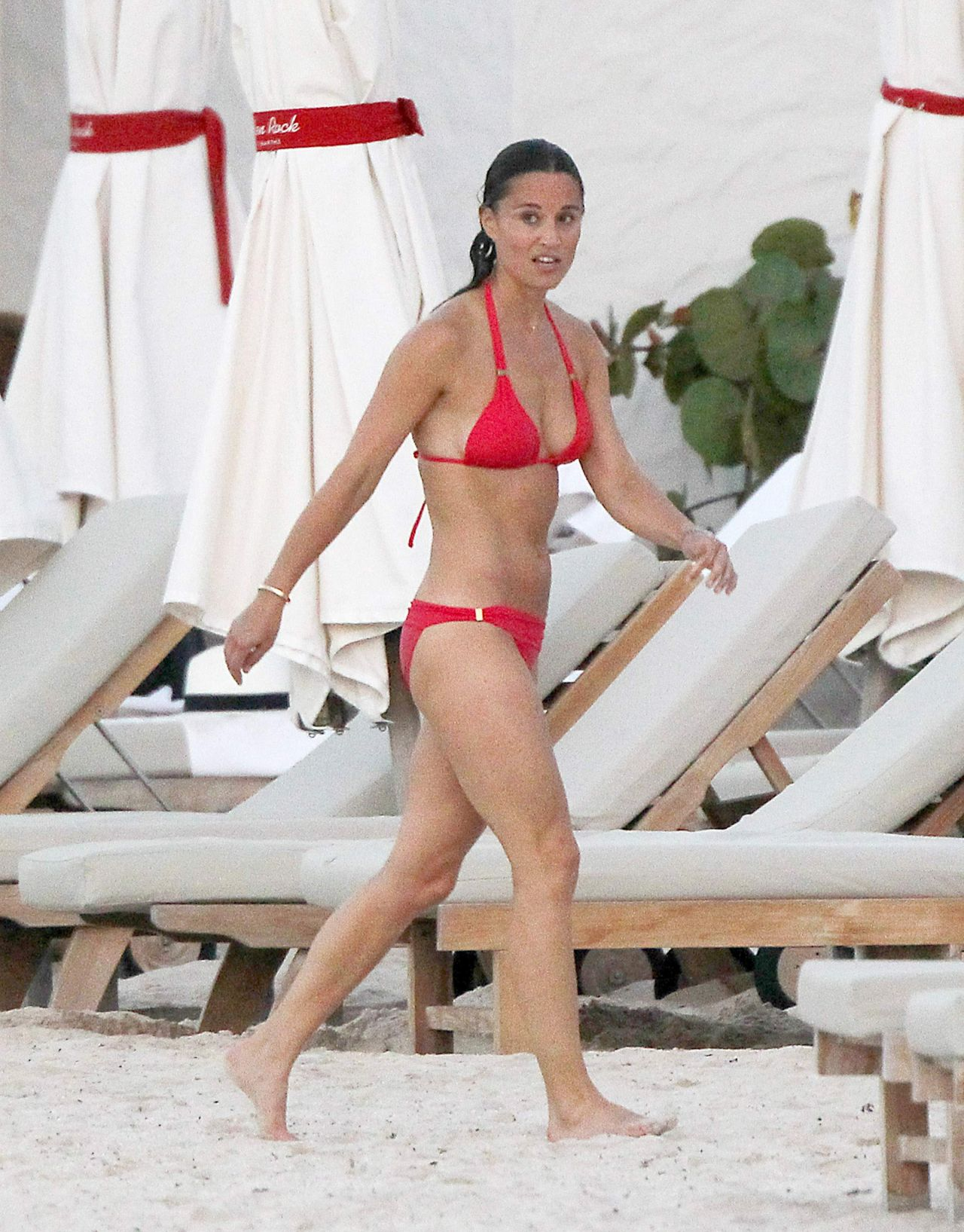 Pippa Middleton In Red Bikini - Out With Friends In St -3888