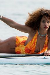 Rihanna Paddle Boating in a Swimsuit in Barbados, August 2015