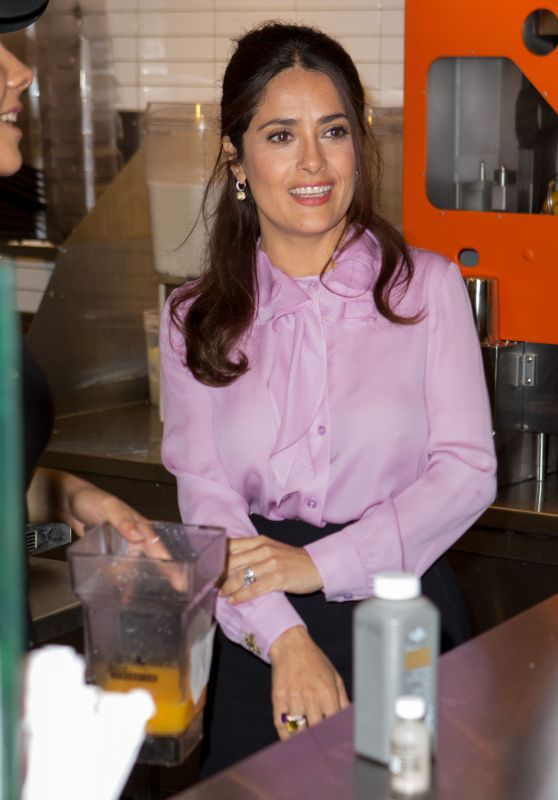 Salma Hayek - at a Juice Bar in New York CIty, August 2015