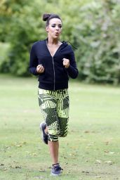 Stephanie Davis - Workout in a Park in Manchester, July 2015