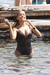 Sylvie Meis Hot in Swimsuit - On the Beach of Ibiza, August 2015