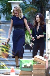 Uma Thurman and Maggie Q on the Set of