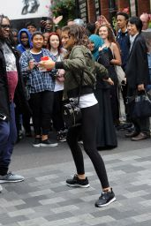 Zendaya in Tights - Outside Her Hotel in London, August 2015