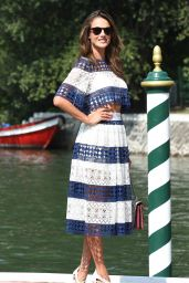 Alessandra Ambrosio Navy Style - Boards a Boat at the Excelsior Hotel in Venice, September 2015