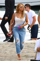Beyoncé in Ripped Jumpsuit - Out in Beaulieu-sur-Mer, France, September 2015