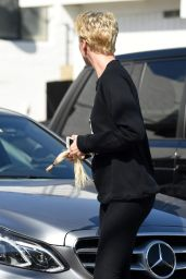 Charlize Theron in Tights - Leaving a Beverly Hills Salon With Short Hair, September 2015
