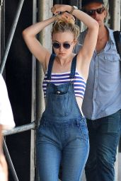Dakota Fanning Jumpsuit Street Style - Out in New York City, September 2015