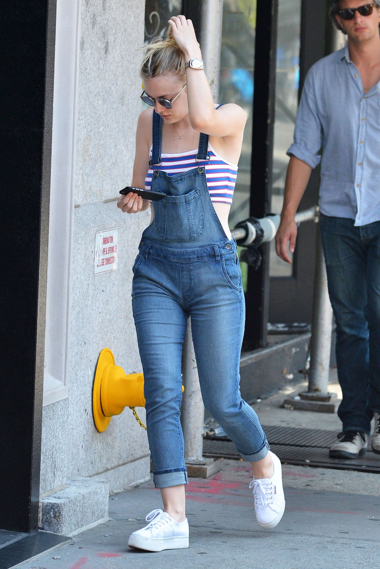 Dakota Fanning Jumpsuit Street Style Out In New York