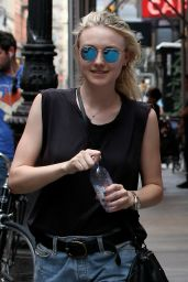 Dakota Fanning Leggy in Shorts - Out in New York City, August 2015