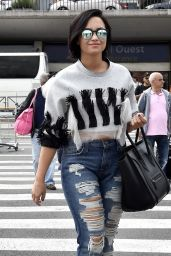 Demi Lovato in Ripped Jeasn - Out in Paris, September 2015