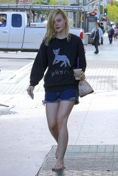 Elle Fanning in Jeans Shorts - Out in LA, September 2015