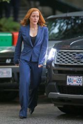 Gillian Anderson On the Set of The X-Files in Vancouver, September 2015