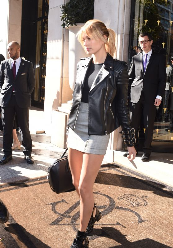 Hailey Baldwin in Mini Skirt - at Her Hotel in Paris, September 2015