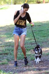 Jamie Chung - Walking her Dog in British Columbia, September 2015
