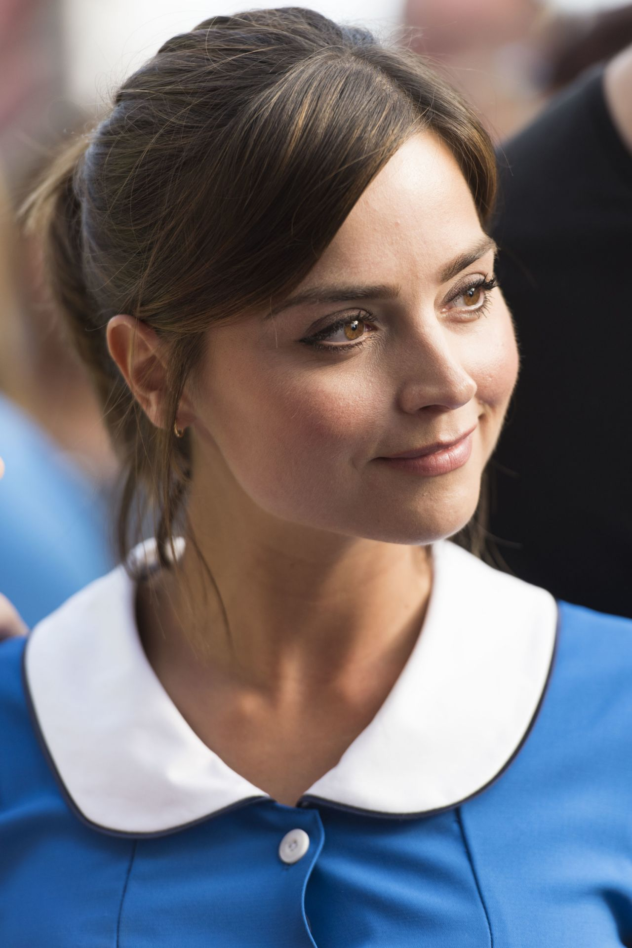 Jenna Coleman In A Waitress Costume Doctor Who Set In