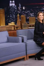 Jessica Alba in Knee High Hoots - Jimmy Fallon Show in NYC, September 2015