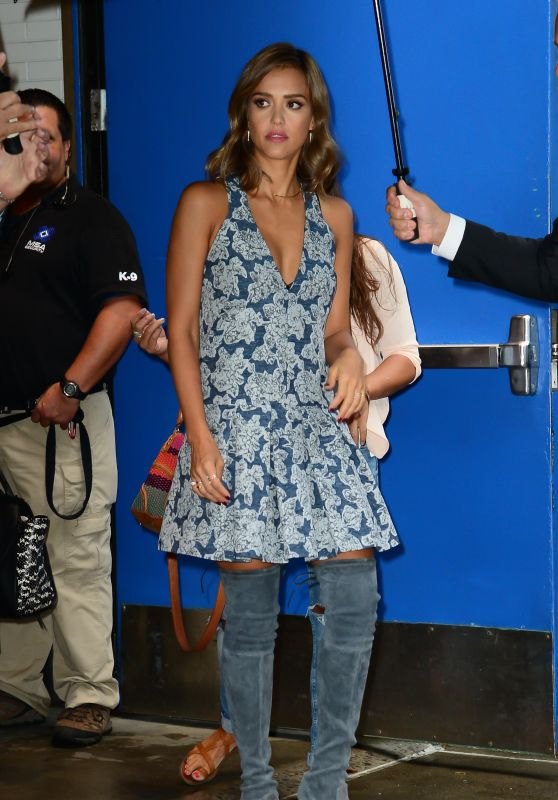 Jessica Alba in Thigh High Boots Leaving TV Studio - September 2015
