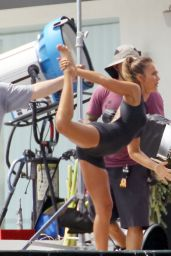 Jessica Alba on the Set of Braun Commerical in Los Angeles, September 2015