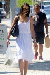 Jordana Brewster in White Dress - Out in Los Angeles, September 2015