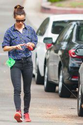 Juliette Lewis Walking Her Dog Teddy in Los Angeles, September 2015