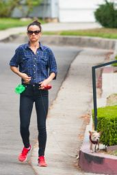 Juliette Lewis Walking Her Dog Teddy in Los Angeles, September 2015