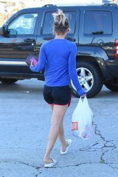 Kaley Cuoco in Shorts - Leaving a Gym in Studio City, August 2015