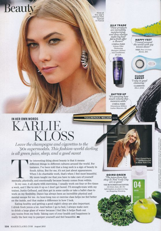 Karlie Kloss - Marie Claire Magazine USA August 2015 Issue