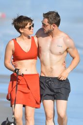 Kate Mara - Walking on a Beach in Malibu, August 2015