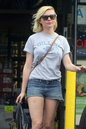 Kirsten Dunst in Jeans Shorts - Shopping in LA, August 2015