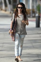Lily Collins in Ripped Jeans - Out in West Hollywood, September 2015