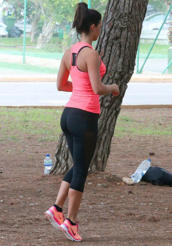 Lucy Mecklenburgh Booty in Tights - Working Out in Ibiza, September 2015