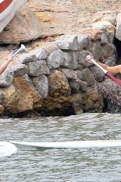 Lucy Mecklenburgh in Red Swimsuit - Paddleboarding in Spain, September 2015