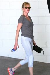 Melanie Griffith in Leggings - Leaving a Gym in Beverly Hills, September 2015