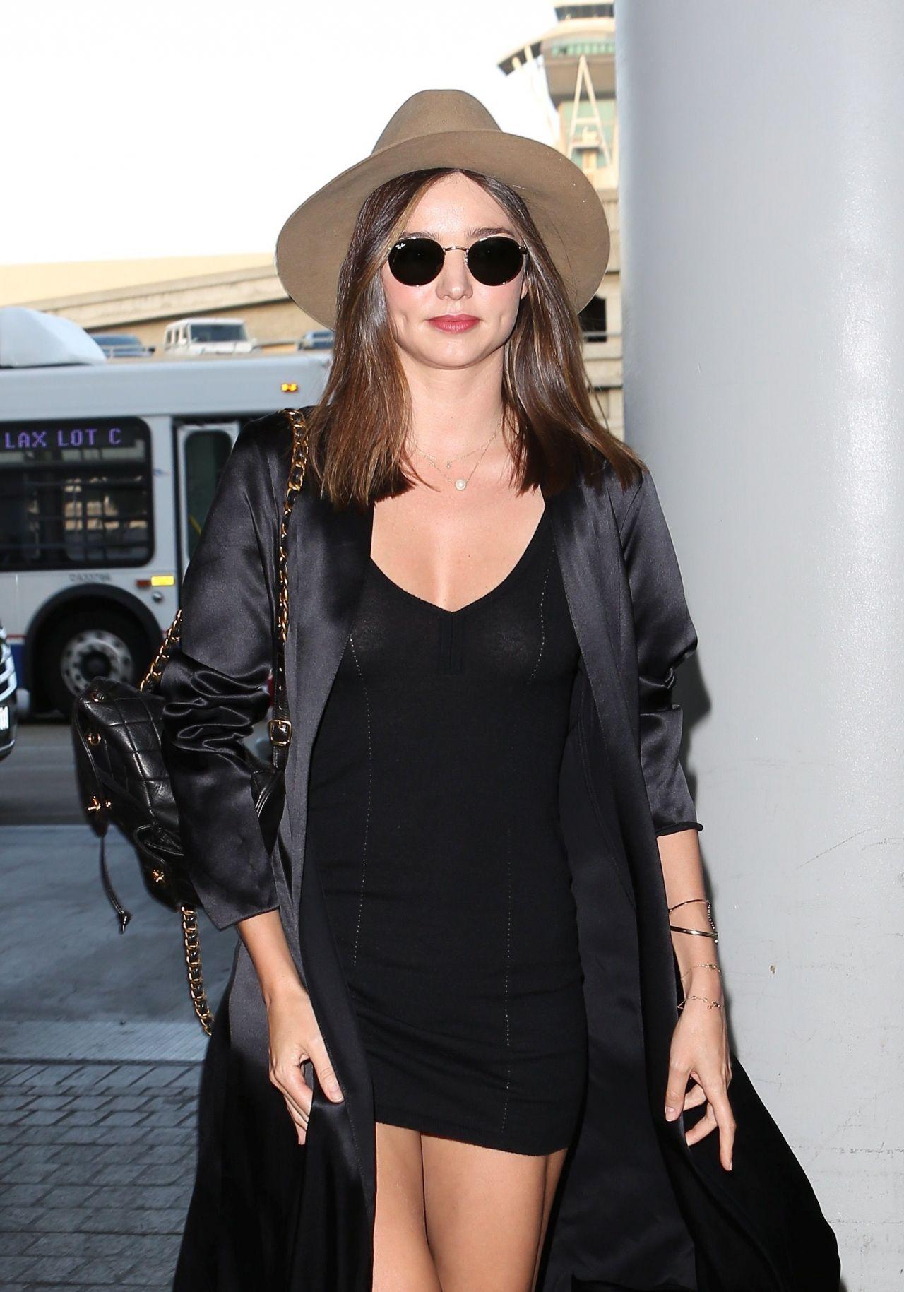 Miranda Kerr In Black Mini Dress At Lax Airport In Los