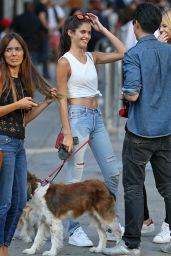 Sara Sampaio - Walks Her Pet Dog Through Soho in NYC, September 2015