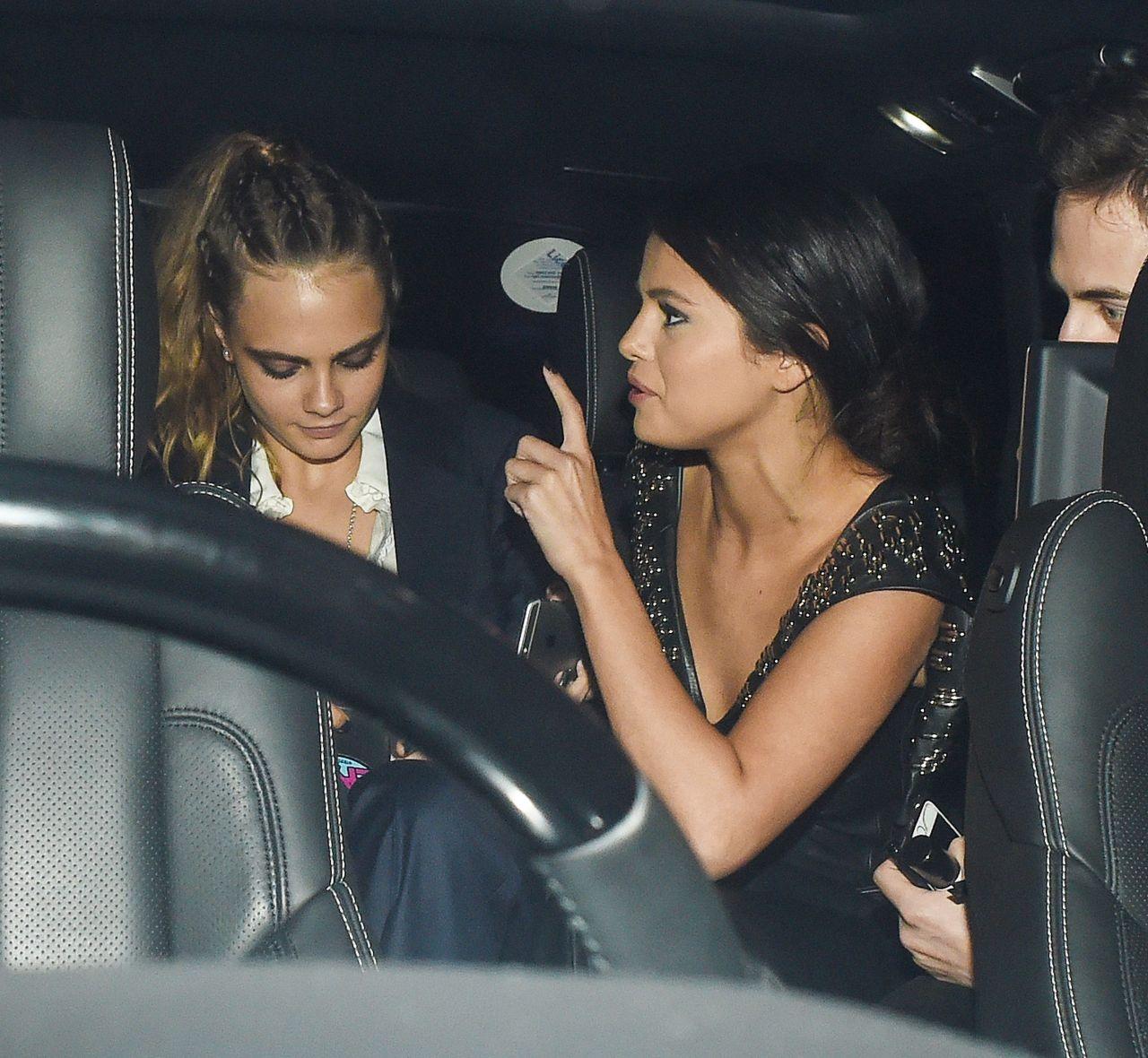 Selena Gomez & Cara Delevingne Out During London Fashion