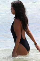 Selena Gomez in a One Piece on a Beach in Miami, September 2015
