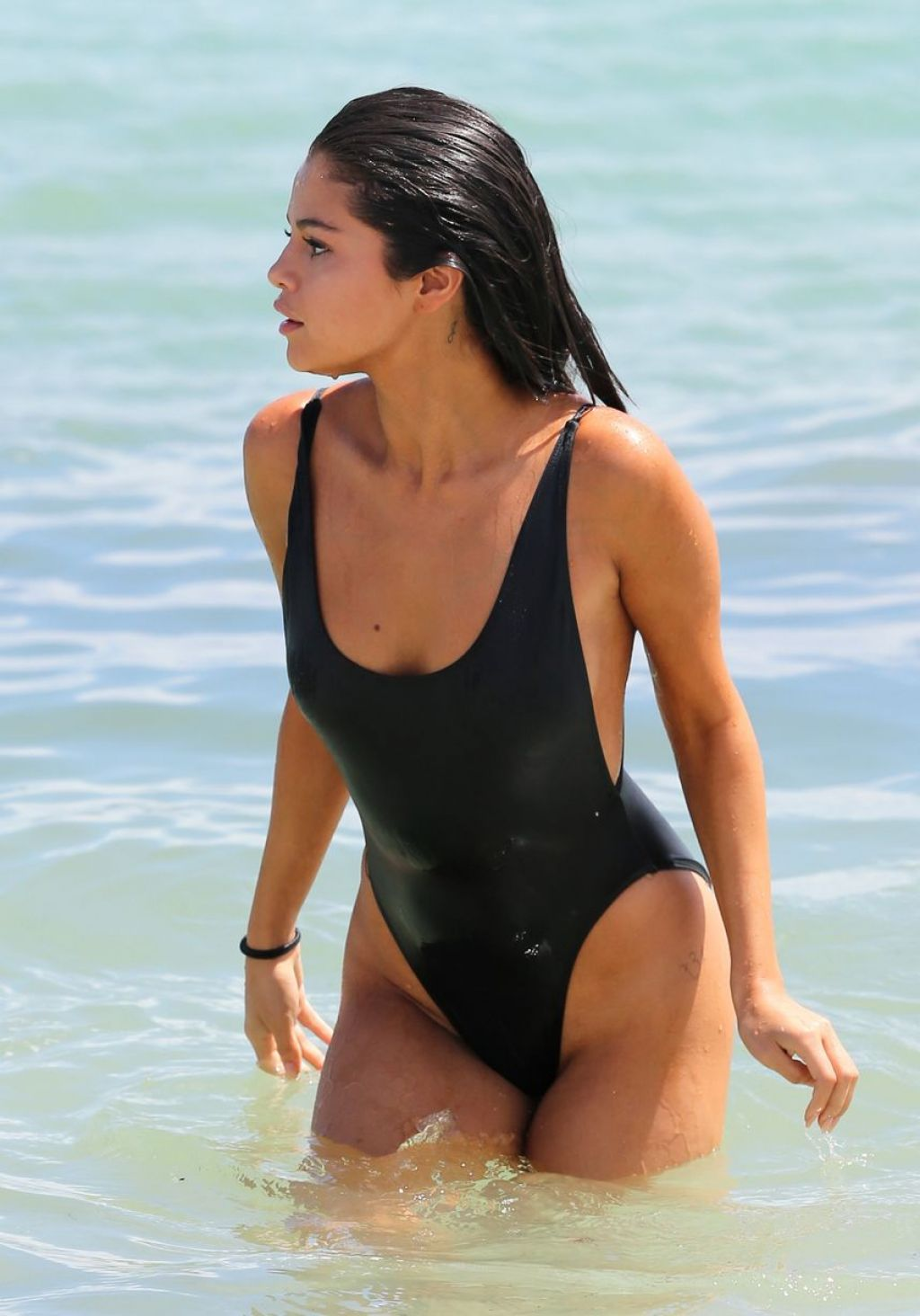 Selena Gomez In A One Piece On A Beach In Miami September