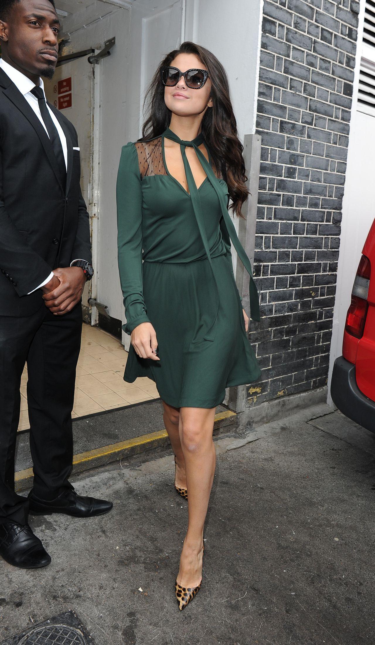 selena gomez  green dress   london september