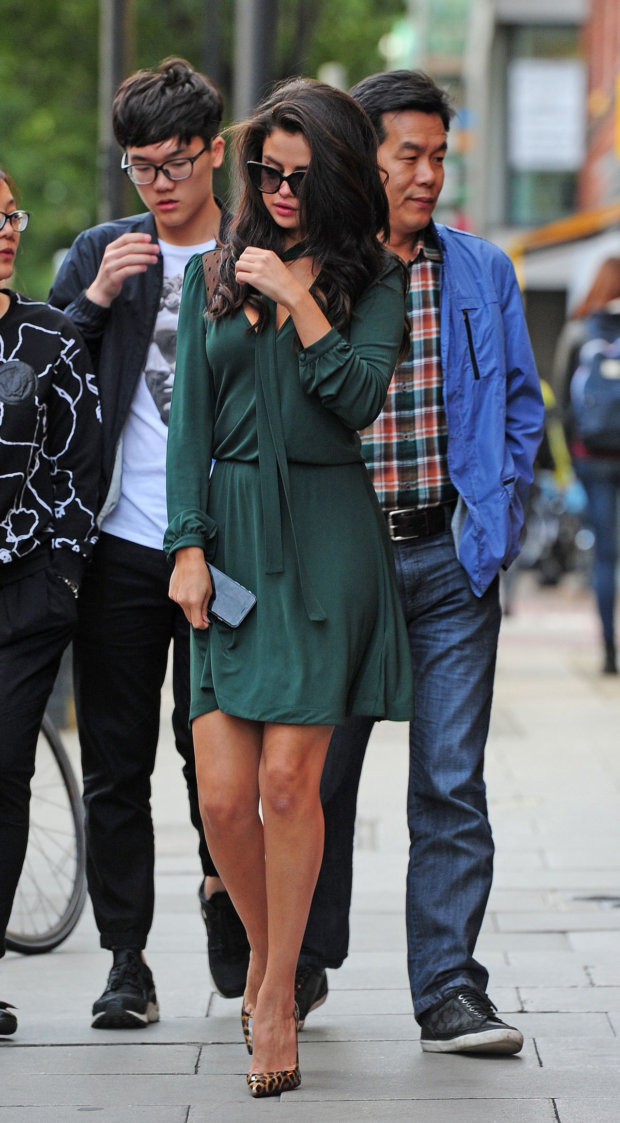 Selena Gomez In Green Dress Out In London September 2015