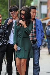 Selena Gomez in Green Dress - Out in London, September 2015