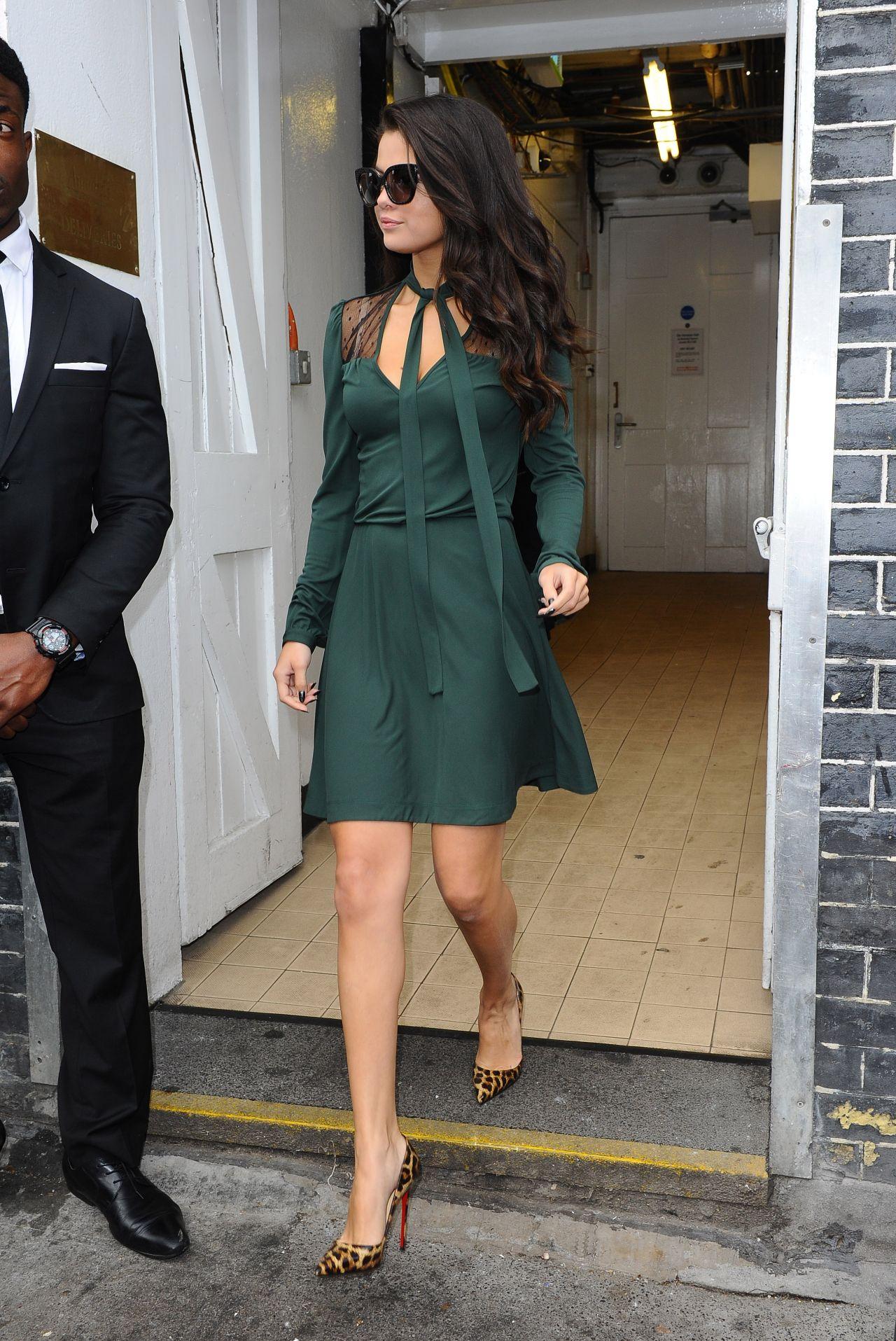 Selena Gomez in Green Dress - Out in London, September 2015