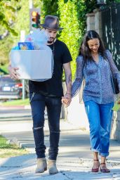 Zoe Saldana - Arrives at Her Friends Baby Shower in Hancock Park in Los Angeles
