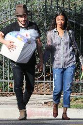 Zoe Saldana - Arrives at Her Friends Baby Shower in Hancock Park in Los Angeles