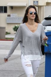 Alessandra Ambrosio in Ripped Jeans - Out in Brentwood, October 2015