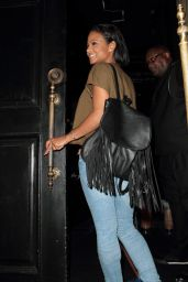 Christina Milian in Jeans at Beso Restaurant in LA, October 2015
